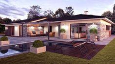 Ideas exterior design house bungalows floor plans for 2019 Bungalow Floor Plans, Modern Bungalow House, House Front Design, Modern House Design, Modern Exterior, Exterior Design, Casas Country, Simple House Plans, House Layouts