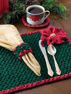 DIY home decor with this crochet pattern for a holiday place mat and napkin ring.