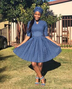 Top Shweshwe Dresses for Wedding Guests, Todays' trend we noticed and anticipate it's artlessly fab, African Dresses For Women, African Attire, African Wear, African Fashion Dresses, African Women, Ankara Fashion, South African Traditional Dresses, Shweshwe Dresses, Ankara Gowns