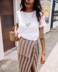 Wrap skirt and easy white t-shirt