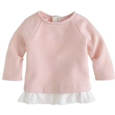 J.Crew Baby ruffle sweatshirt (135 BRL) ❤ liked on Polyvore featuring baby, baby girl, kids and baby clothes