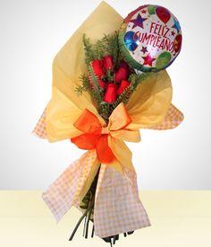 Detail Birthday: 6 Roses Bouquet +Happy Birthday Balloon