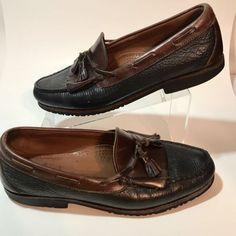 20fc0f36c625 Allen Edmonds Men s Size 11.5 Nashua Black   Brown Leather Kiltie Tassel  Loafers