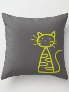 Throw Pillow - Cat Charcoal Grey
