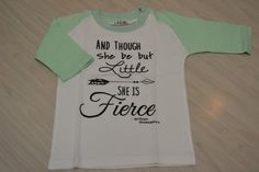 Though She Be But Little, She is Fierce Raglan Shirt, Girls Baseball T-Shirt, Baby, Toddler, Girl Raglan, Mint Raglan