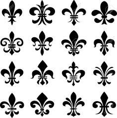 Illustration of classic fleur de lys symbol set vector art, clipart and stock vectors. Stencil Patterns, Stencil Art, Stencil Designs, Pattern Art, Stencils, Design Elements, Design Art, Logo Fleur, Tattoo Fleur