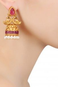 Gold Finish Ruby Crystals and Pearl Textured Jhumki Earrings #bansri #shopnow #ppus #happyshopping