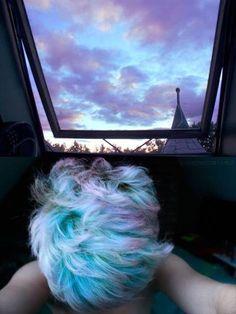 Purple and blue sunset hair color Hair Inspo, Hair Inspiration, Sunset Hair, Blue Sunset, Costume Noir, Grunge Hair, Goth Hair, Rainbow Hair, Rainbow Sky