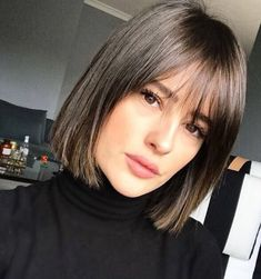 Medium Natural Straight Human Hair With Bang Women Wig 14 Inches. # Hairstyles with bangs Medium Natural Straight Human Hair With Bang Women Wig 14 Inches Short Hairstyles For Women, Wig Hairstyles, Straight Hairstyles, Hairstyles 2018, Party Hairstyles, Summer Hairstyles, Bob Hairstyles For Fine Hair With Fringe, 2018 Haircuts, Bangs Hairstyle