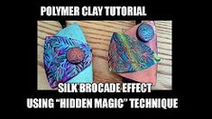 """How to use """"hidden magic"""" technique for silk brocade effect- polymer clay tutorial 064 Polymer Clay Kunst, Polymer Clay Canes, Polymer Clay Miniatures, Polymer Clay Pendant, Fimo Clay, Polymer Clay Projects, Polymer Clay Beads, Video Fimo, Clay Videos"""