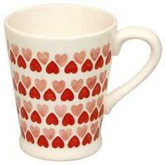Red and pink heart pattern mug