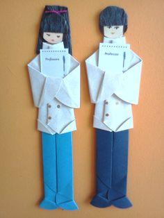 Marcador de páginas em origami - Professor e Professora