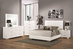 Fall in love with the Felicity Contemporary Glossy White Queen Bed by Coaster Furniture Company at NashCo Furniture and Mattress, a family owned business proudly serving Nashville, TN and surrounding areas! White Bedroom Set, 5 Piece Bedroom Set, Bedroom Sets, Modern Bedroom, Modern Beds, Contemporary Bedroom, Bedrooms, White Queen Bed, Spiegel Design