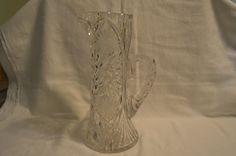 American Brillaint Hand Cut Lead Crystal Glass Pitcher - Vintage by BigBlossomAntiques on Etsy