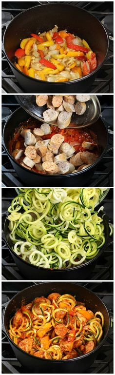 Peppers w Zucchini Noodles & hearty pasta sauce - topped off w/yummy melted blend of Mozzarella, Asiago, & Parmesan cheese.& Peppers w Zucchini Noodles & hearty pasta sauce - topped off w/yummy melted blend of Mozzarella, Asiago, & Parmesan cheese. Zucchini Noodle Recipes, Zoodle Recipes, Spiralizer Recipes, Paleo Recipes, Low Carb Recipes, Dinner Recipes, Cooking Recipes, Healthy Sausage Recipes, Chicken Sausage Recipes