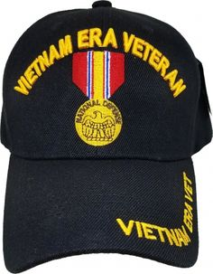 cff503a820e37 Vietnam Era Veteran National Defense Medal Mens Cap  Black - Adjustable