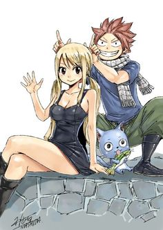 Lucy Heartfilia, Natsu Dragneel and Happy Dragneel - by Hiro Mashima - Fairy Tail Lucy, Fairy Tail Nalu, Fairy Tail Ships, Art Fairy Tail, Fairy Tail Amour, Fairy Tail Photos, Fairy Tail Guild, Fairy Tales, Fairytail