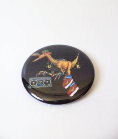 Velocirapper Dinosaur Funny Pinback Button OR Magnet by MAGICbyAnnaPanda, $3.00