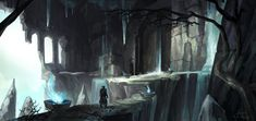A second image for my quest project (the first one is the post before this one). This time the hero has arrived at the entrance of the forgotten stone halls inside which a beast now resides. A Beast, My Images, Entrance, Environment, Doors, Stone, Artwork, Painting, Entryway
