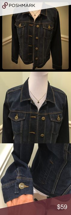 """Cute Cabi Denim Jacket M Brand Cabi. Size M. Machine washable. Features pockets and nice button detail. Bust measures 20"""" laying flat. Length 23"""". Gently used. Smoke free home. CAbi Jackets & Coats Jean Jackets"""