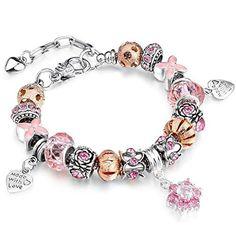 18K Weiß Vergoldet Charm Pink österreichischen Kristall und Rose Gold Perlen Schlange Kette Armband Armreif Rosa: Amazon.de: Schmuck