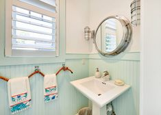 3 styles that give the small powder room a spacious look: 30 large …give lar… Nautical Bathroom Design Ideas, Beach Theme Bathroom, Nautical Bathrooms, Bathroom Interior Design, Bathroom Ideas, Bathroom Sconces, White Bathroom, Small Bathroom, Shower Mirror