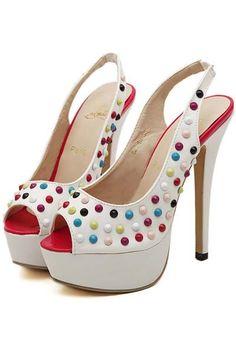 f8d3e649952b White Faux Leather Studded Peep Toe Stiletto Heels