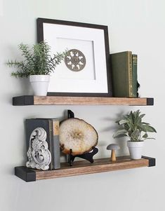 The Bella Collection - Floating Shelves, Wall Mounted, Modern Rustic All Wood Wall Shelves, Set of 2 for Bedroom, Bathroom, Family Room, Kitchen with Decorative Iron End Cap - 24 x 6 x 1.5 in