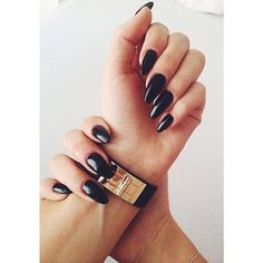 I want perfectly done black pointed nails<3