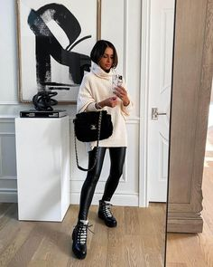 Patent Leather Leggings, Slouchy Boots, Athleisure Outfits, Shearling Boots, Outfit Combinations, Autumn Winter Fashion, Fall Fashion, Suede Booties, Everyday Fashion