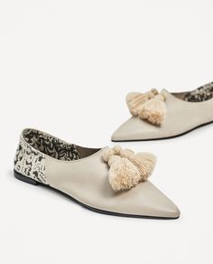 ZARA - WOMAN - FLAT LEATHER SHOES WITH TASSELS