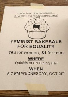 Feminist Bakesale  // funny pictures - funny photos - funny images - funny pics - funny quotes - #lol #humor #funnypictures