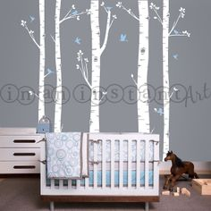 Birch Tree Decal with Flying Birds, Birch trees, Birch forest, Birch Trees Wall Vinyl for Nursery, Living Room, Kids or Childrens Room
