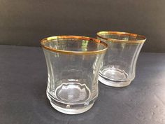 Vintage MIKASA Crystal in Jamestown Gold Rim Optic Double Old Fashioned Glasses Set of Two