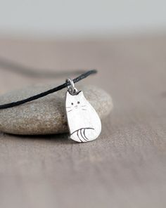 Silver cat pendant Silver jewelry Sterling silver door TOTOanimals