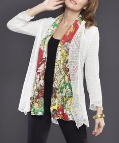 Take+a+look+at+the+Adore+White+Sheer+Knit+Abstract+Open+Cardigan+on+#zulily+today!