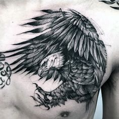 Eagle Tattoo Ideas For Men - Best Tattoos For Men: Cool Tattoo Ideas For Guys, Badass Men's Tattoo Designs Unique Half Sleeve Tattoos, Cool Chest Tattoos, Chest Tattoos For Women, Half Sleeve Tattoos Designs, Cool Tattoos For Guys, Unique Tattoos, Tattoo Designs Men, Body Art Tattoos, Bow Tattoos