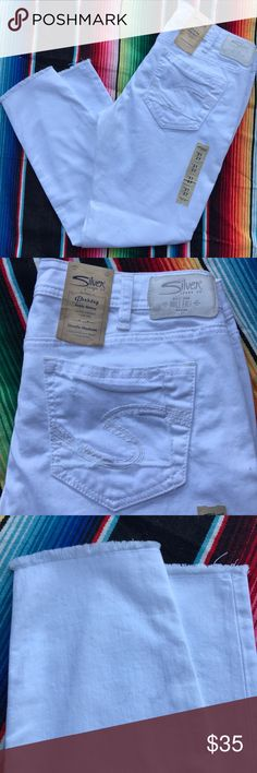 New Silver Jeans white Berkeley ankle skinny 31x27 Silver Jeans white denim ankle skinny low rise jeans  with Lycra for a bit of stretch. Perfect for summer!! Silver Jeans Jeans Ankle & Cropped