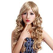 Capless lange krøllede Blonde høj kvalitet sy... – DKK kr. 230