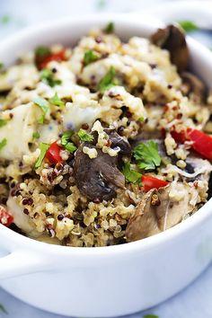 Slow Cooker Cheesy Mushroom Quinoa