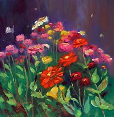 August 28, 2014 Brave Gallery Visitors!  A New Zinnia Painting!  Monet and Poppy Receive Presents! Like this.