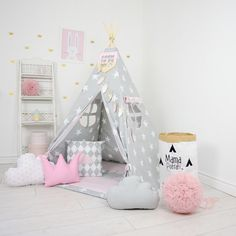 Teepee Kids Play Tent Tipi Dusty PInk Sky by MamaPotrafi on Etsy