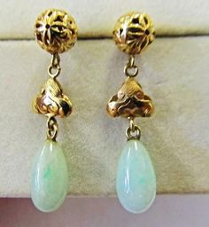 14KT Celestial Carved Gold Ball with Jade Drop Earrings  Unique 14KT Gold Jade…