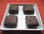 Almond, orange, and chocolate flavors combine to pack a big punch in Marzipan Orange Bites. Chocolate Orange, Chocolate Flavors, How To Make Marzipan, Candy Recipes, Chocolate Covered, Toffee, Truffles, Fudge, Peanut Butter