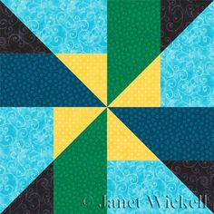 This easy but unique pinwheel quilt block pattern is assembled with one simple patchwork unit that's sewn in two different color combinations.