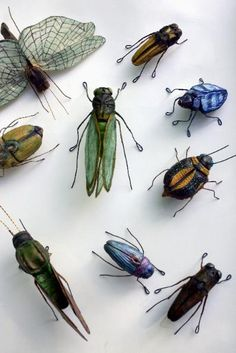 Andrea Uravitch...insect sculpture...embroidered and sewn fabric + wire--- My son would love these!!
