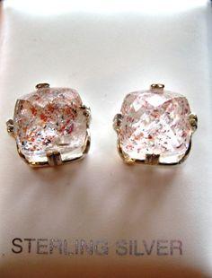 Strawberry Quartz Earrings Large 11x11mm Crystalline clear w/pink red black specks Sterling Silver Cushion cut handmade fine jewelry on Etsy, $78.78