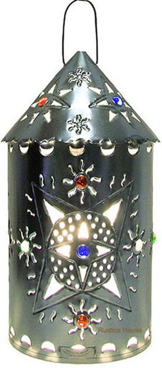 """This handmade tin lantern is mean for illuminating indoors and outdoors. The design """"Salamanca"""" is a great rustic home and garden decoration idea. Hotel Foyer, Hacienda Homes, Spanish Style, Cool Lighting, Ceiling Lamp, Wall Sconces, Rustic Decor, Light Fixtures, Lanterns"""