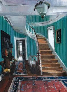 Art Print Interior Blue Townhome Stairwell Interior Urban 9x12 on 11x14 - Townhome Stairwell by David Lloyd