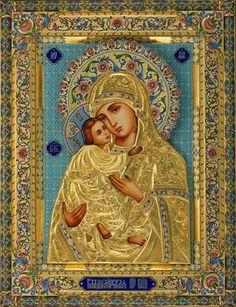 Madonna. Icono ruso. (Tooodos están preciosos pues, aunque se trate de la misma virgen varía la forma de decorarla, no sabes ni cual está más bonita!)